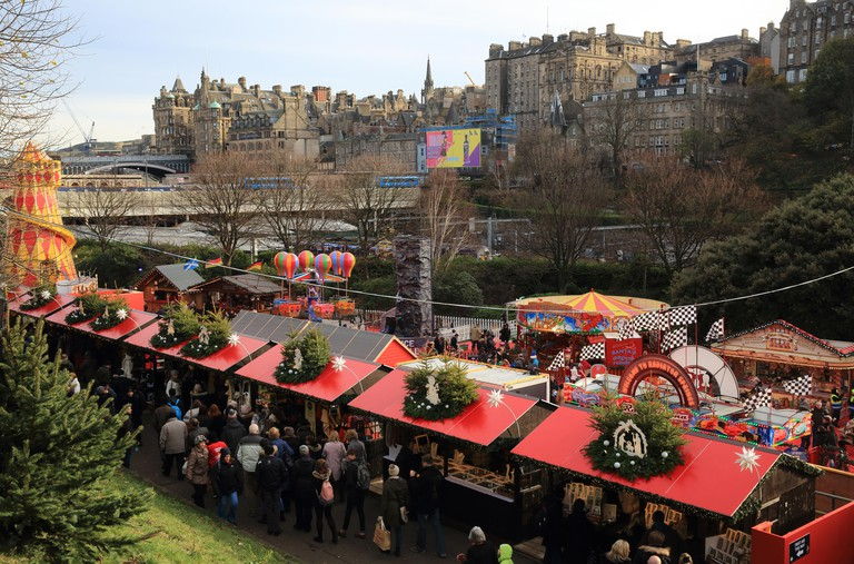 Popular Edinburgh Christmas market, in East Princes Street Gardens, in Scotland, UK. Image shot 11/2015. Exact date unknown.