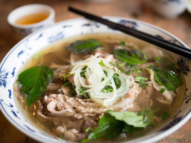 A bowl of beef brisket pho, a popular Vietnamese noodle soup.