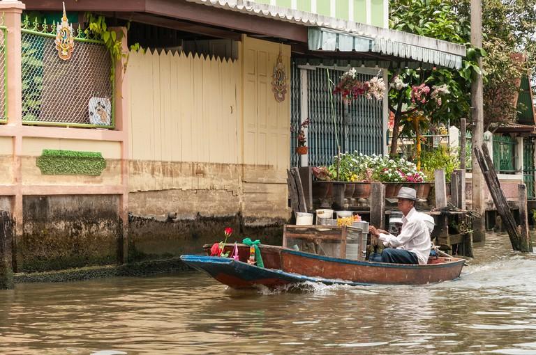 Waterborne food vendor on the Khlongs in Thonburi, Bangkok, Thailand