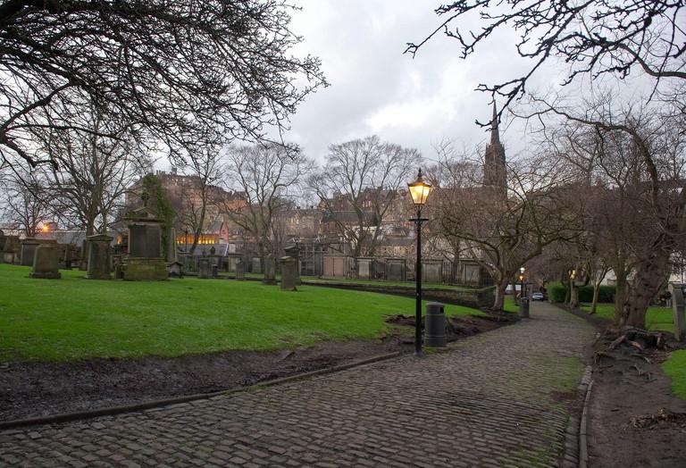 View of Greyfriars Church yard, and Edinburgh Castle.