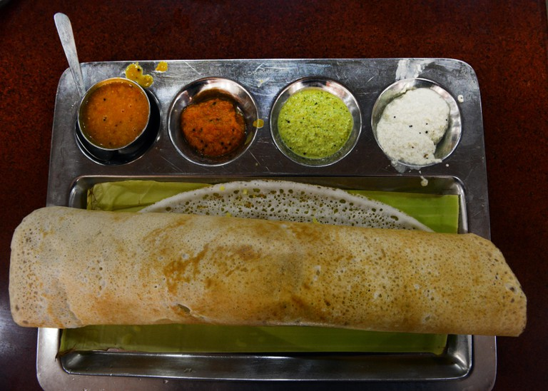 Masala Dosa with chutney sauce and Sambar ( Lentil soup )
