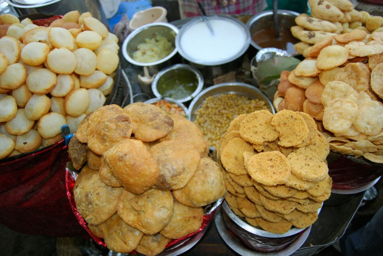 Panipuri is a hollow, puffed, round dough with a crunchy shell and it is a popular street snack in India