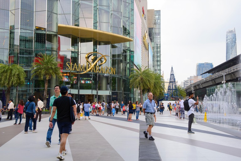 Tourists in front of shopping center Siam Paragon