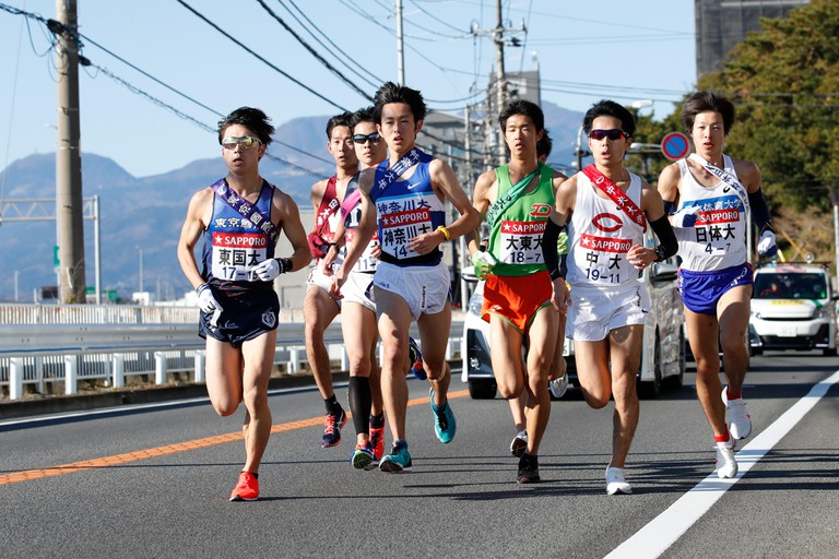 Kanagawa, Japan. 3rd Jan, 2019. (L to R) ? Kotaro Haga (), Kosuke Magara (), Takumi Kato (), Ryosuke Tawada (), Sho Mitsuboshi ( ), Kohei Sekiguchi (), ?Kota Shiga () Athletics : The 95th Hakone Ekiden, Tokyo-Hakone Round-Trip College Ekiden Race, 7th Sec