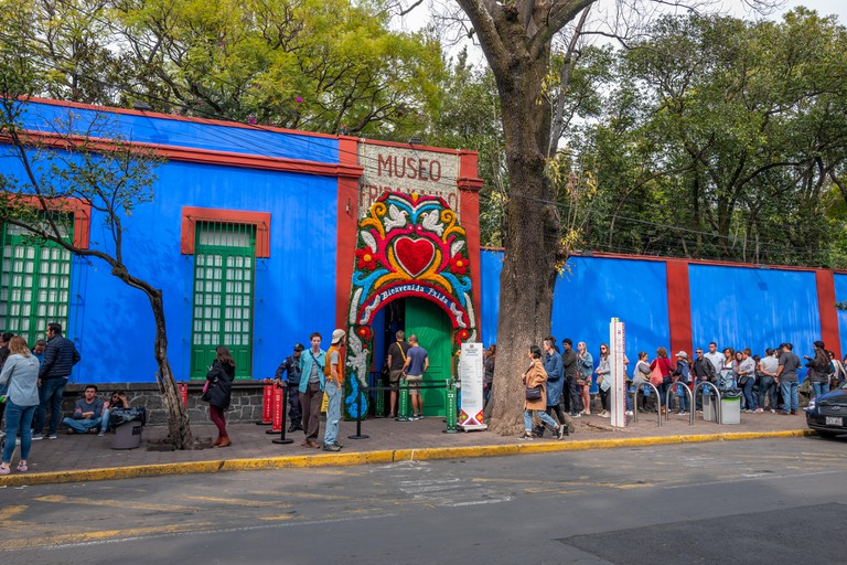 The Casa Azul, or Blue House, in Mexico City, the museum dedicated to Frida Kahlo