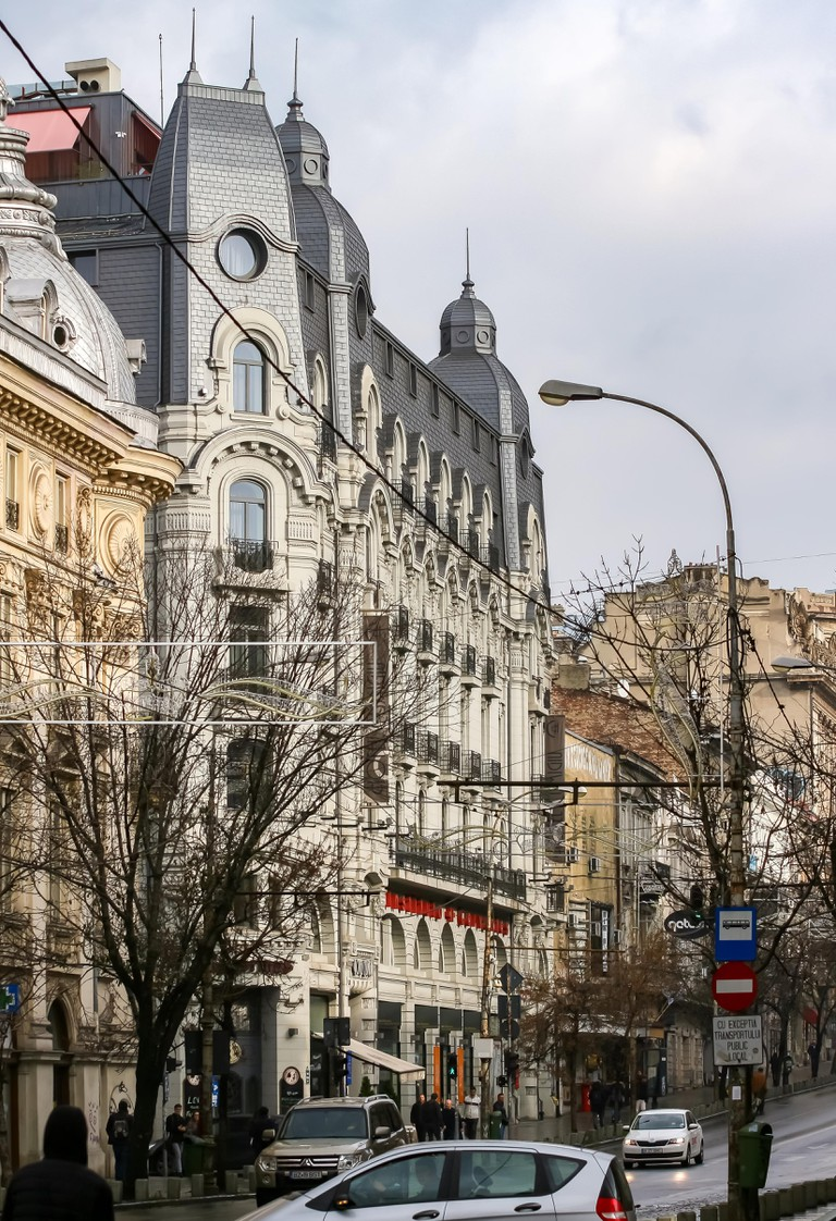 Bucharest, Romania - November 15, 2018: The beautiful building of the Cismigiu Hotel, built in 1912, where The Gambrinus Beer House is located on the