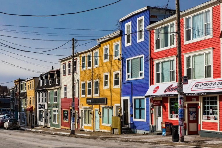 Some of the Jellybean Row historic row houses in St. John's, Newfoundland, Canada [No property releases; available for editorial licensing only]
