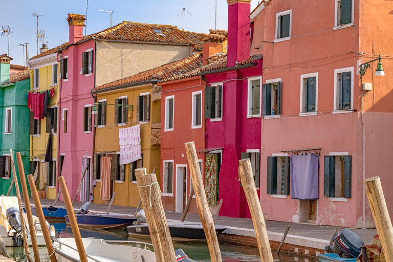 Colourful houses on the Italian island of Burano an Island in the Venetian Lagoon a reasonably short boat ride from Venice,Italy