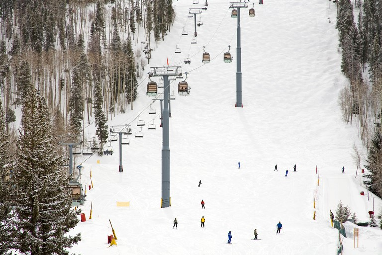 Lionshead Village ski run, Vail Ski Resort, Rocky Mountains, Colorado, USA, North America