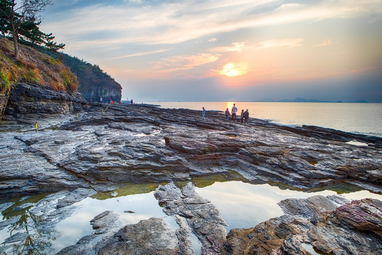 Watching the sun go down at Chaeseokgang Cliffs is a truly unique experience