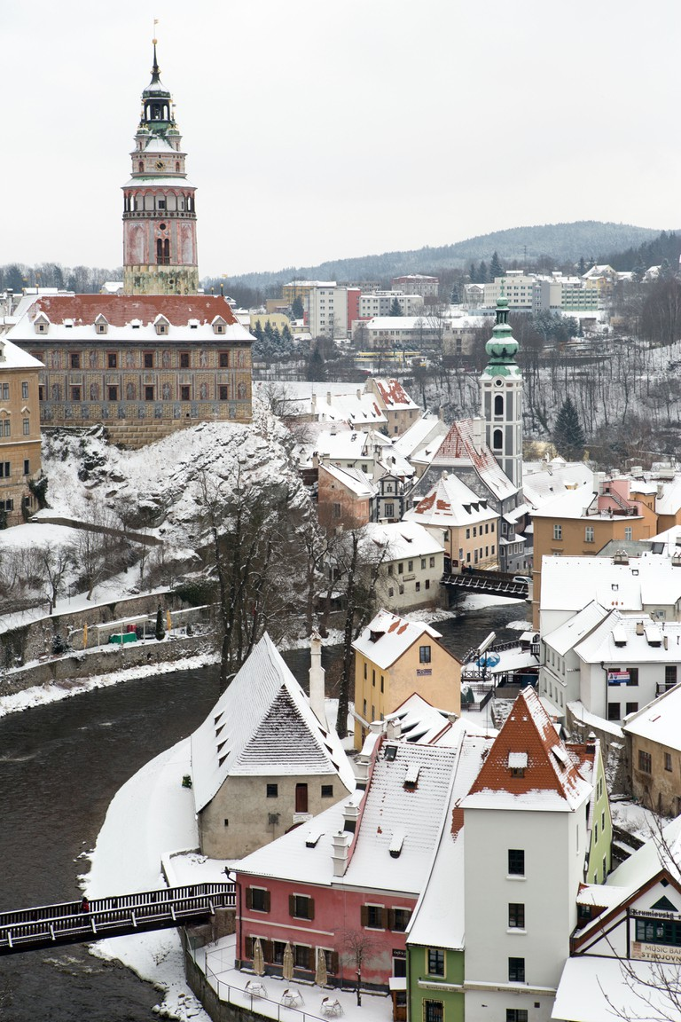 Cesky Krumlov city fortress tower view in Winter