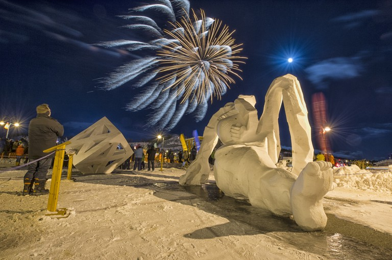 Snow carvings and fireworks at shipyards park for Rendezvous.