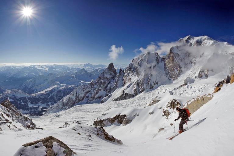 France, Haute Savoie, Chamonix Mont Blanc, skiing the Brenva glacier