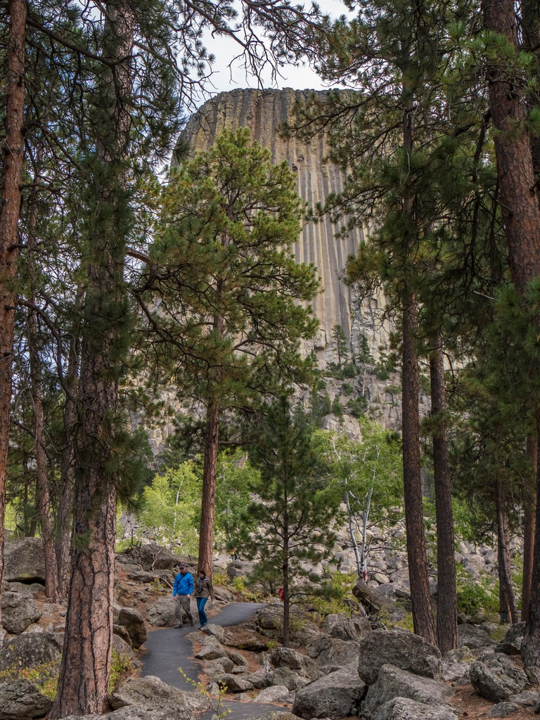 Guests walk the Tower Trail, Devil's Tower National Monument, Wyoming.