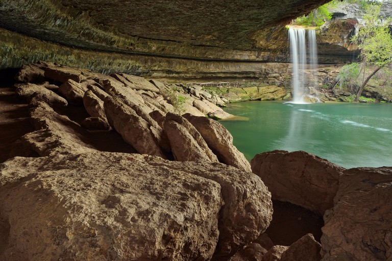 Hamilton Creek Waterfall and Hamilton Pool , Hamilton Pool Preserve Travis County Parks, Texas, USA