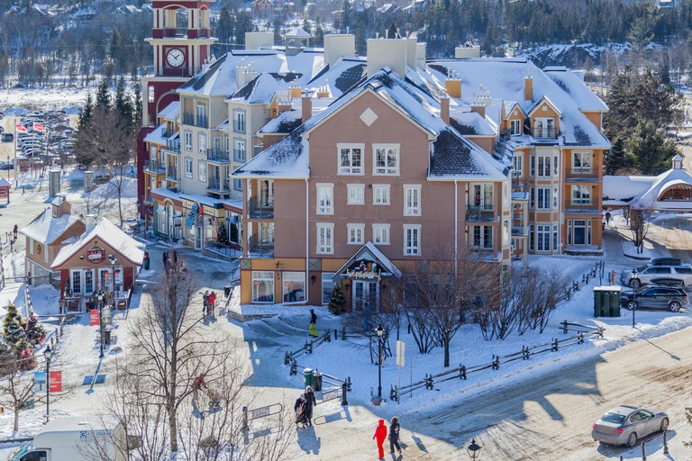 Mont-Tremblant village in winter in Quebec, Canada. Mont-Tremblant is the best ski resort in Eastern North America.