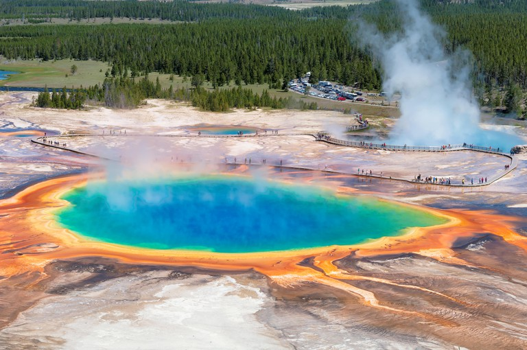 Grand Prismatic Spring - Thermal pool in Yellowstone national park, Wyoming.