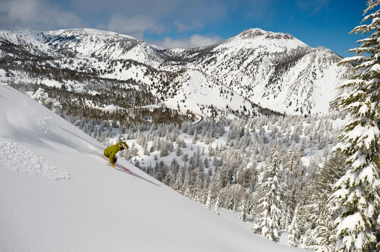 Powder day and first tracks at Mt. Rose Ski Tahoe in the Sierra mountains between Reno and Lake Tahoe.