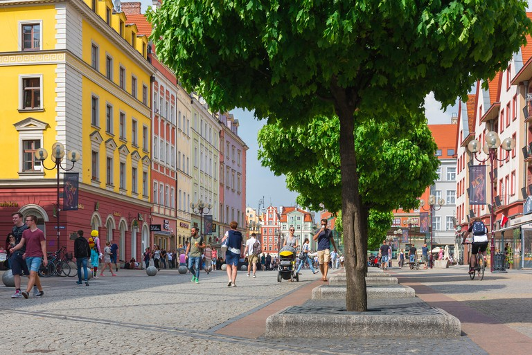 Wroclaw Poland, view in summer of Swidnicka Street in the Old Town quarter of Wroclaw, Poland.