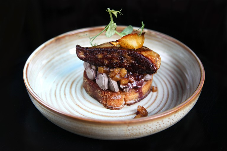 French foie gras with apple and pear chutney on the toast