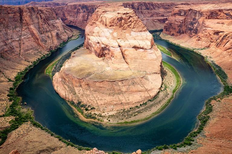 Horseshoe bend, Arizona. Horseshoe shaped incised meander of the Colorado River, United States