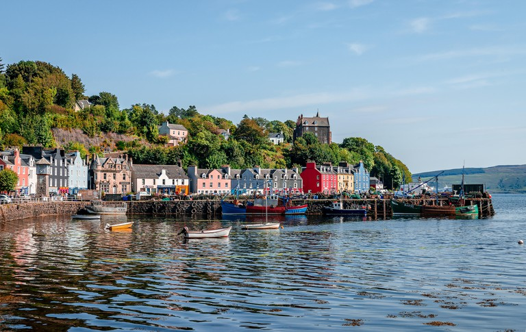 View of the Tobermory waterfront. Tobermory is the capital of Mull, and until 1973 the only burgh on, the Isle of Mull in the Scottish Inner Hebrides.