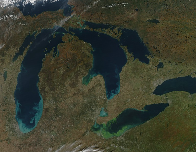 Satellite view of the Great Lakes, USA.