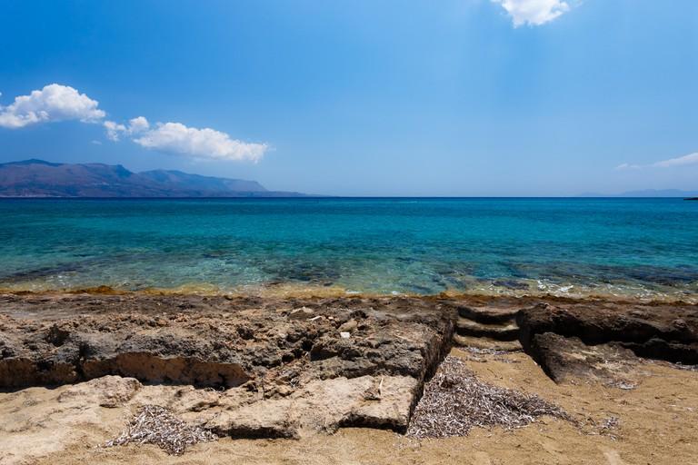 Ancient Greek city ruins of Pavlopetri in Pounda exotic beach in Lakonia, Peloponnese, Greece