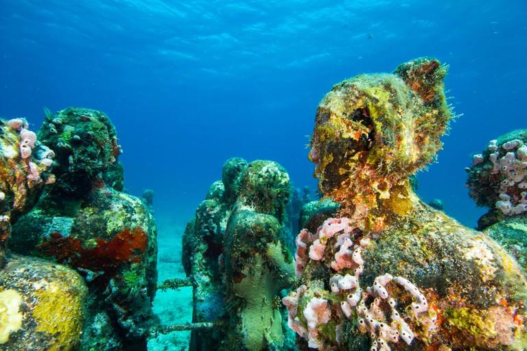 Silent Evolution sculptures in the underwater museum at MUSA.