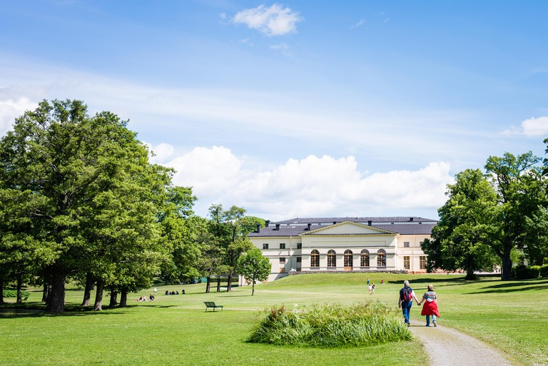 STOCKHOLM, SWEDEN - JULY 5, 2017: View over Drottningholm Palace and park on a sunny summer day. Home residence of Swedish royal family