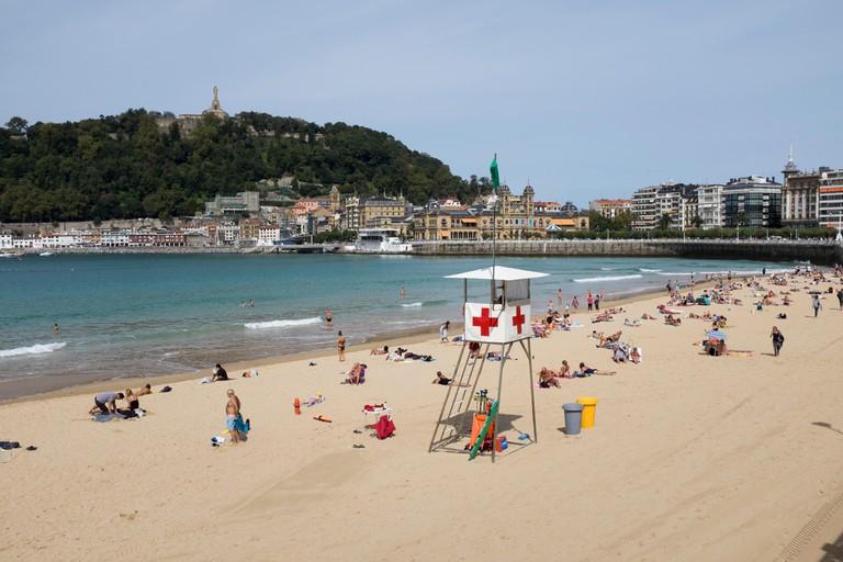 Playa de la Concha Beach at San Sebastian in the Basque Country Spain