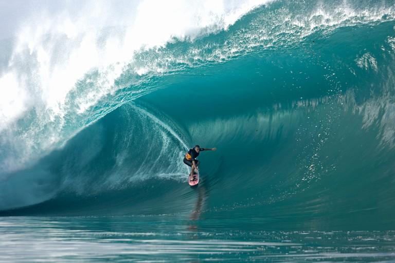 Jamie Sterling surfing at Teahupoo Tahiti