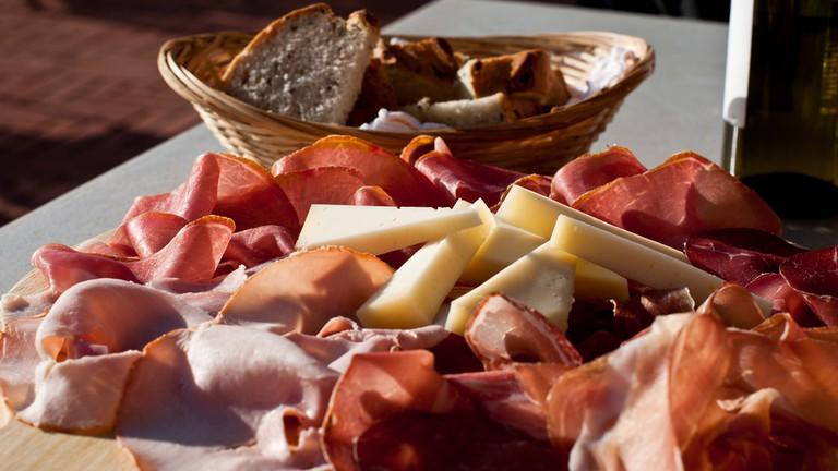 Cheese, Prosciutto, Bread and Wine
