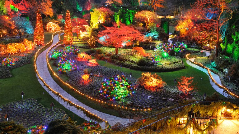 Beautiful sunken garden night scene in Christmas in historic butchart gardens, victoria, british columbia, canada