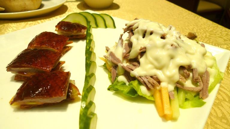 Crispy duck with shredded duck salad