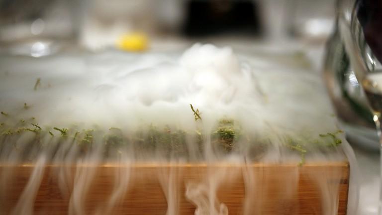 Liquid nitrogen peat bog at The Fat Duck
