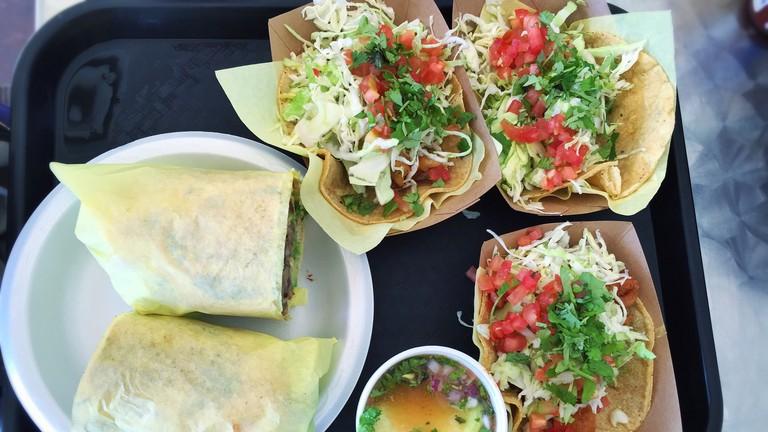 Fish tacos, shrimp tacos, carne asada and shrimp torta, fisherman's stew at Oscar's Mexican Seafood