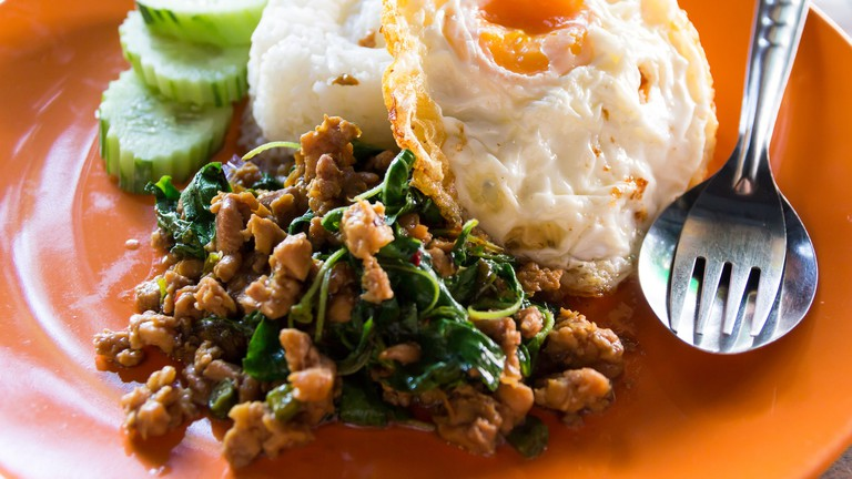 Chicken and basil in Thailand