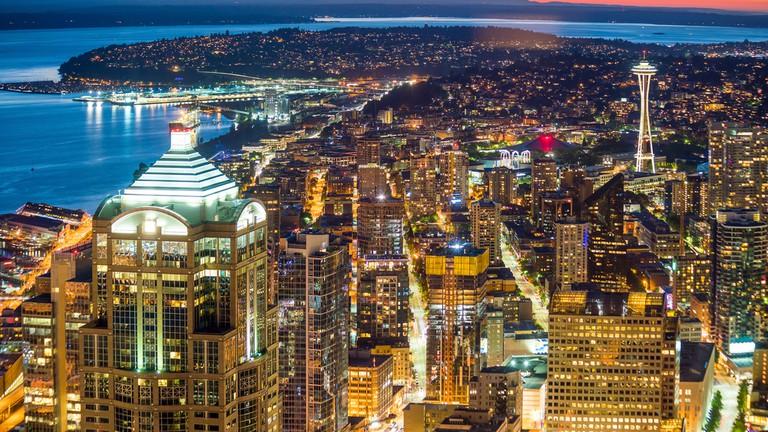 Downtown Seattle skyline in Seattle Washington