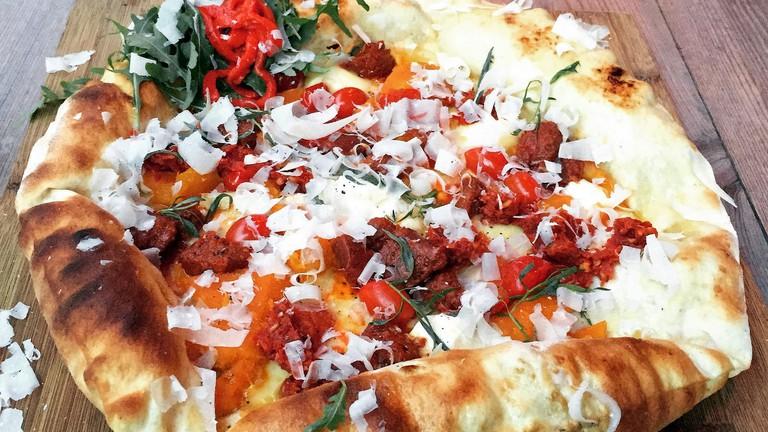 Pumpkin and Chorizo Pizza at Neighbourhood, Copenhagen