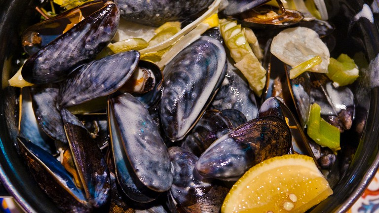 Mussels at BXL Cafe, NYC