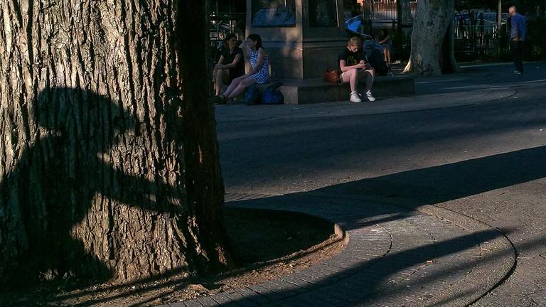 Brooklyn Street Scenes - Shadow of Boy on a Bike, Carroll Park, Brooklyn  © Steven Pisano/flickr