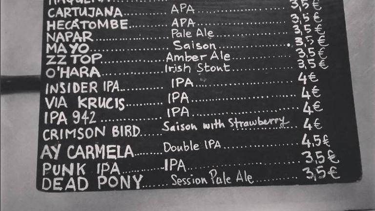 Beer Menu at Red House