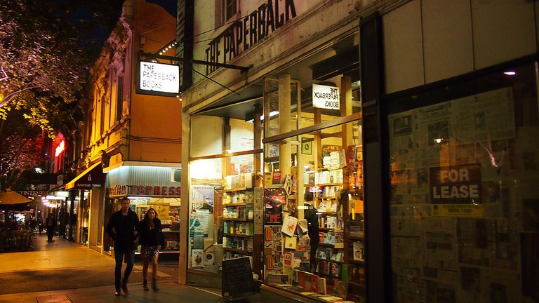 The Paperback Bookshop at night in Dec 2012   © Nick-D/WikiCommons