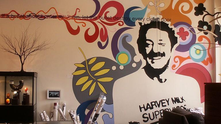 Harvey Milk mural in former Castro Camera