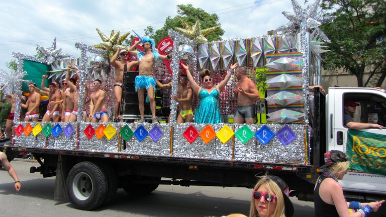 Roscoe's bar float in annual Pride Parade in Boystown
