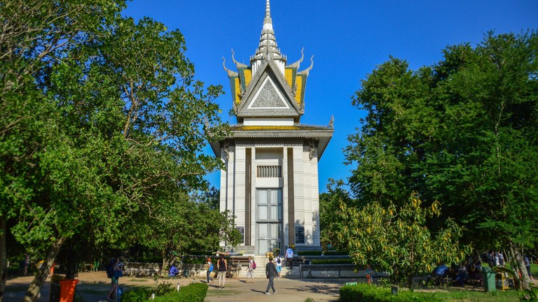 The Buddhist stupa holding more than 5,000 skulls exhumed from the killing field at Choeung Ek
