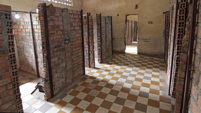 Cells that held political prisoners at Tuol Sleng, also known as S-21