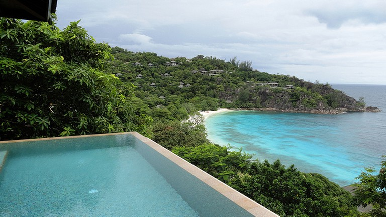 Private pool and a beautiful view at Four Seasons Resort Mahe