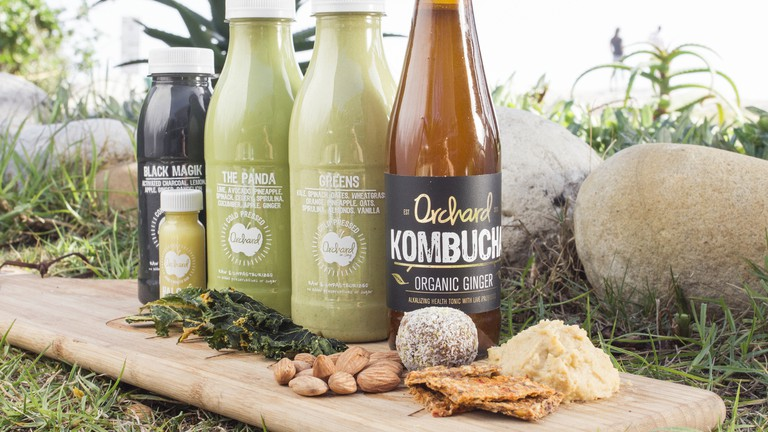 Some of the cold-pressed juices and kombucha from Orchard